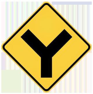 Y-road-sign